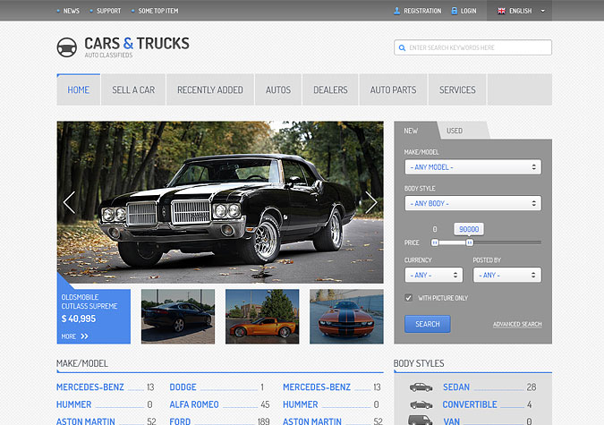 General view of the main page of the Auto Main Blue template