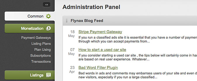 Flynax admin panel monetization section