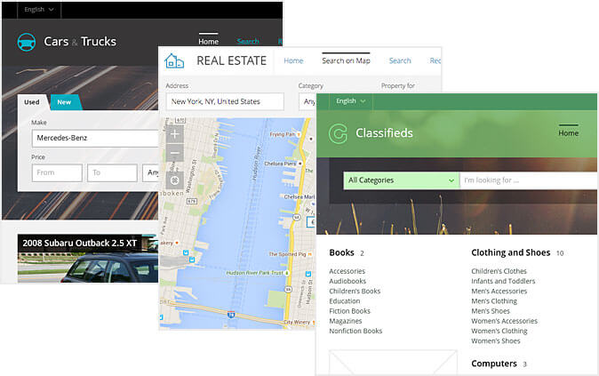 Wide responsive classifieds templates