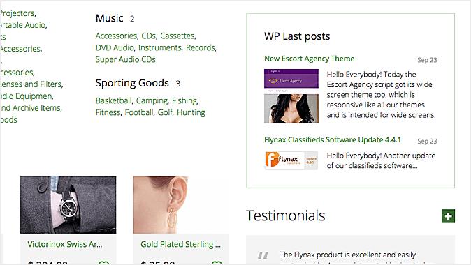 Wordpress latest posts on flynax