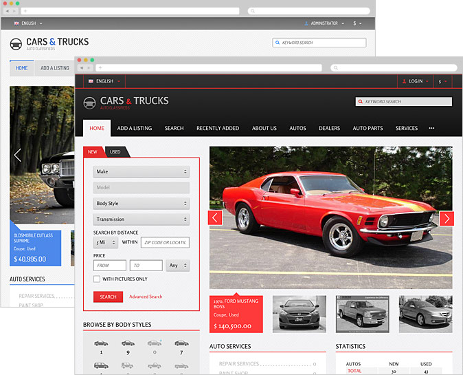 Auto Main responsive classifieds templates