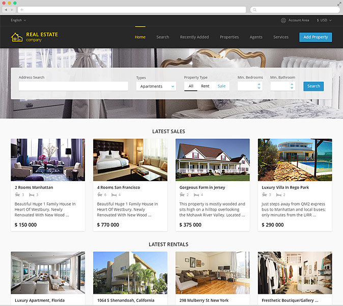 Real estate agency responsive template