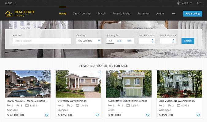 Real estate website screenshot