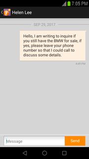 contact dealer through app