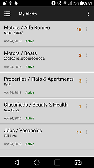 Alerts manager in Android