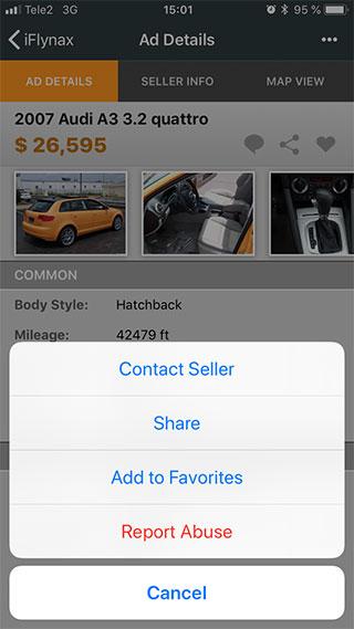 Report Ad button in iOS
