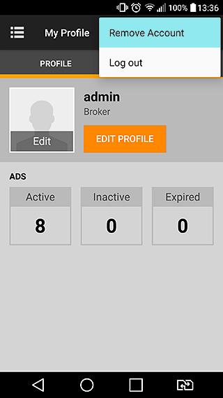 Terminate account button