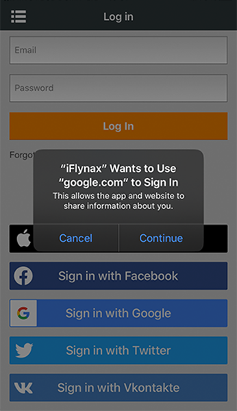Social login for iOS